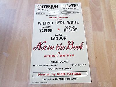 Wilfrid Hyde WHITE in NOT in the BOOK by Arthur Watkyn CRITERION Theatre Poster