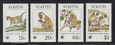 St. Kitts Sc 189-192 MNH. 1986 WWF issue cplt, depicts Monkeys, VF