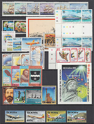 St. Kitts Sc 38//218 MNH. 1980-1987 issues, 9 complete sets, VF