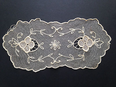 "Antique Tambour Net Lace Hand Embroidered Doilie 10-1/2"" x 5"""