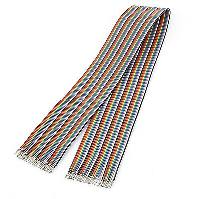 uxcell 60cm Female to Female 1P-1P 40Pin Jumper Rainbow Ribbon Cable 2.54mm NEW