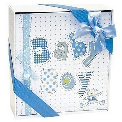 White and Blue Baby Boy Photo Album-4x6 Photos NEW