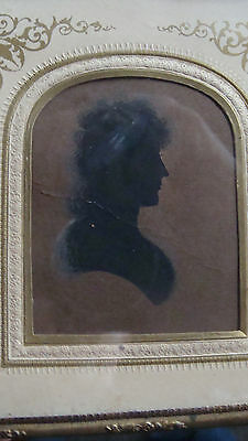 ca 1800 framed watercolor antique silhouette of a lady *