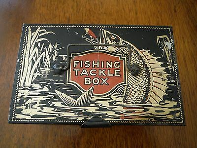 Vintage Child's Tackle Box Fishing Tin - Rare & Excellent Condition