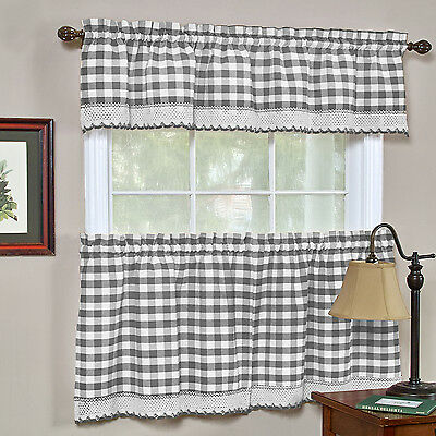 BUFFALO CHECK GINGHAM Kitchen Curtains Tiers or Valance ...