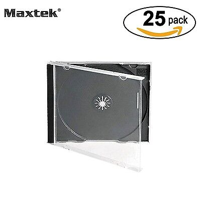 Maxtek 10.4 mm Standard Single Clear CD Jewel Case with Assembled Black T... NEW