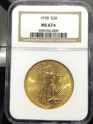 1928 $20 Saint Gaudens Double Eagle Gold NGC MS 67 STAR