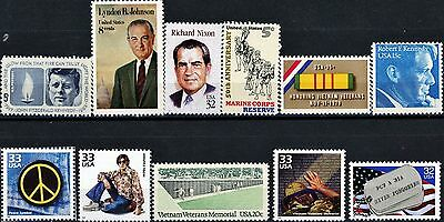 11 Vietnam War Theme Stamps JFK LBJ Bobby Nixon Peace POWs The Wall Hippies