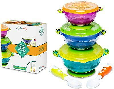 Stay Put Baby Bowls - Suction Toddler Spill Proof Feeding Set - Bonus Spo... NEW