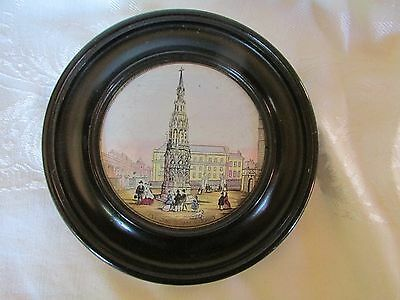 Antique Eleanor Cross London Pot Lid Framed