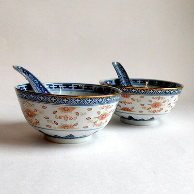 Pair of Vintage Chinese Rice Eye Pattern Porcelain Bowls & Spoons Blue White Red