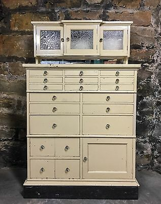 Antique Dental Cabinet Medical Storage Etched Doors Glass Knobs Apothecary