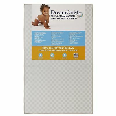 Dream On Me 3 Portable Crib Mattress White NEW