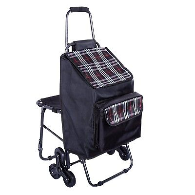 Multipurpose Lightweight Wheeled Shopping Trolley with Front Cooler Bag a... NEW