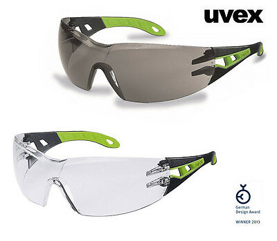 NEW Uvex Pheos Safety Glasses * Black/Geen Frame * No Metal Parts *
