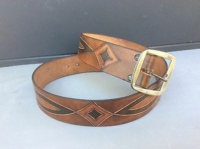 Vintage Hickok Handmade Tooled Leather Belt with Removable Buckle-Size 36-8412I
