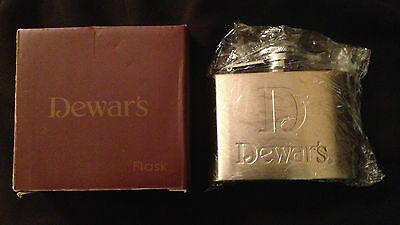 4oz Flask DEWAR'S Stainless Steel Collectible Scotch Beverage Container NEW BOX