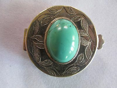 Vintage Silver and Turquoise Pill Box ? very pretty Sterling silver ? Mexican ?