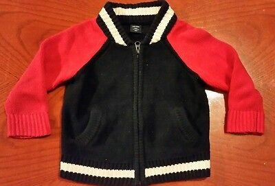 Baby Gap - Cardigan Zip Front Red & Navy Sweater - Size 18 to 24 months