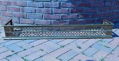 "Vintage Brass Fireplace Fender Guard Reticulated Rectangular 49""L"