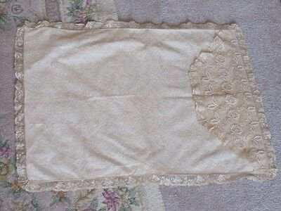 Antique Embroidered Lace Pillow Cover Boudoir Pink Cream Ivory Estate
