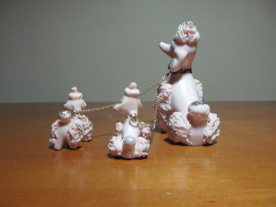 Vintage Pink Spaghetti Poodle with White Flower and  Two Puppies