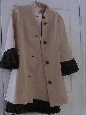 LILLI ANN KNITS Vintage 1960s Cream/Brown Knit Dress & Coat