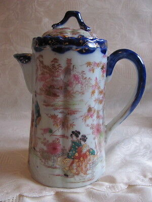 Antique Japanese geisha porcelain chocolate pot teapot Satsuma hand painted 1900