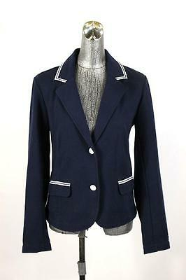 womens blue white TOMMY HILFIGER blazer jacket modern casual career cotton LARGE