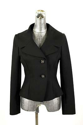 womens black ANN TAYLOR blazer jacket beaded buttons career stretch casual S 6