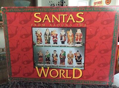 """Hand Painted Boxed Set Of 12 Santa's From Around The World 1884-1925 w/COA 4.5"""""""