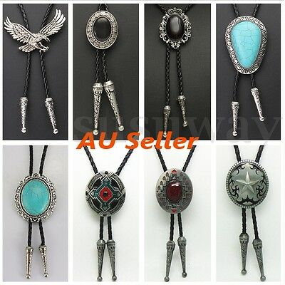 Western Cowboy Alloy Opal Pendant Leather Bolo Bola Tie Necktie Rodeo Necklace