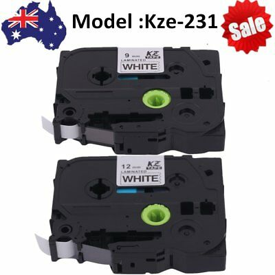 Black on White Label Tape Compatible for Brother P-TOUCH Printer 9mm/12mm AU