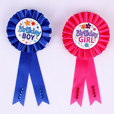 Unqiue Birthday Girl Boy Award Ribbon Rosette Badge Pin Children's Party Top BHL
