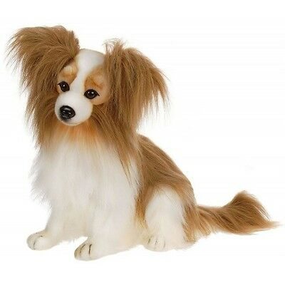 New NWT Hansa Life Like Handmade Stuffed Animal Brown Papillon Dog Beautiful