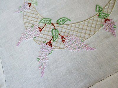 VINTAGE TABLECLOTH-HAND EMBROIDERED with LILAC FLOWERS