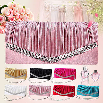 Women Satin Evening Pleated Bridal Prom Diamante Chian Clutch Bag Handbag Purse