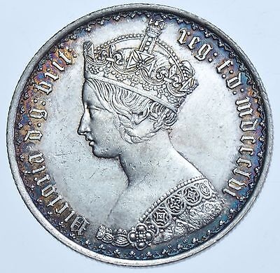 Rare 1856 Gothic Florin, British Silver Coin From Victoria Ef