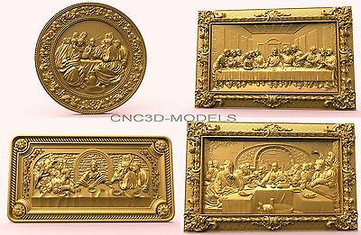 3D Model STL for CNC Router Carving Artcam Aspire Collection Last Supper 1858
