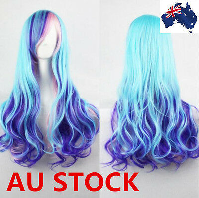 Women Lady Mixed Color 70cm Curly Cosplay/Costume/Holloween Party Full Wigs Wig