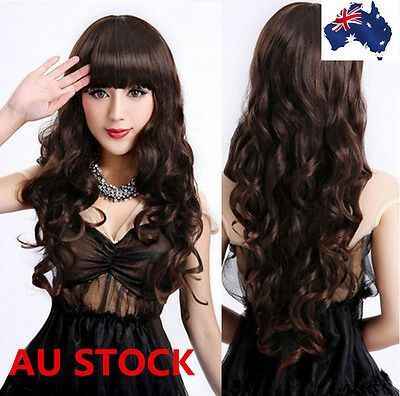 Korean Style Women Girls Hair Long Curly Wavy Anime dress Cosplay Party Full Wig