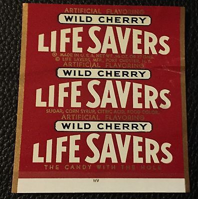 Rare 1960's Life Savers Wild Cherry Candy Wrapper Original Unused