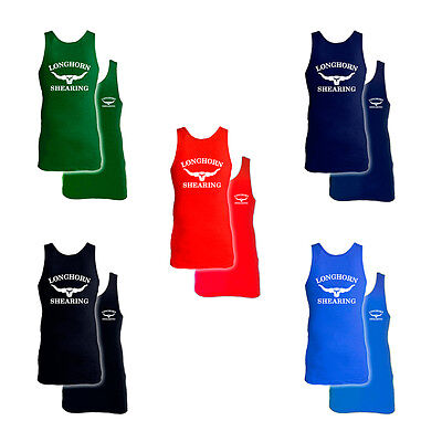 Pack Of 5 Extra Long 100% Cotton Longhorn Shearing Singlet Vests