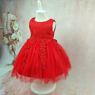 Tulle Lace Floral Girl Wedding Party Children Pageant Dress SZ 1-2-3-4-5-6-7-8T