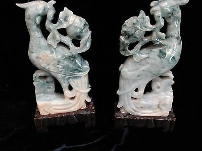"""pair antique Chinese carved jade phoenix 7.5"""" plus carved wood stands QING"""