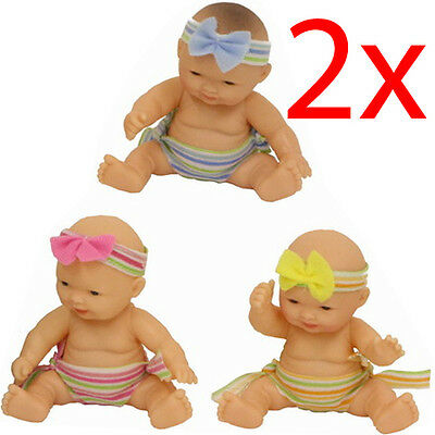 Set Of 2 Pvc Baby Doll Child Girls Toy Gift Life Like Soft Babies New Born Play