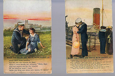 BAMFORTH POSTCARD WHEN THE FIELDS ARE WHITE WITH DAISIES SERIES 4793 nos 1/4
