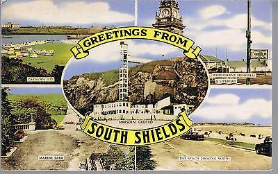 Millar & Laing Postcard Multiview Greetings From South Shields 1955