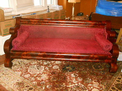 Antique 1800's Mahogany Empire Box Sofa On Metal Wheels, Diu Project, Reduced