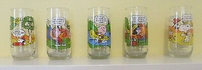 complete Set of (5)  1983 McDonald's  Peanuts Camp Snoopy Glasses